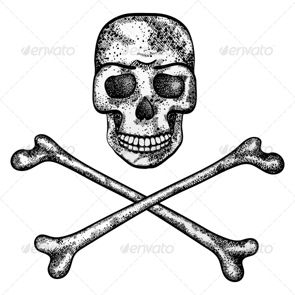 Vector Illustration of Skull and Crossbones - Monsters Characters
