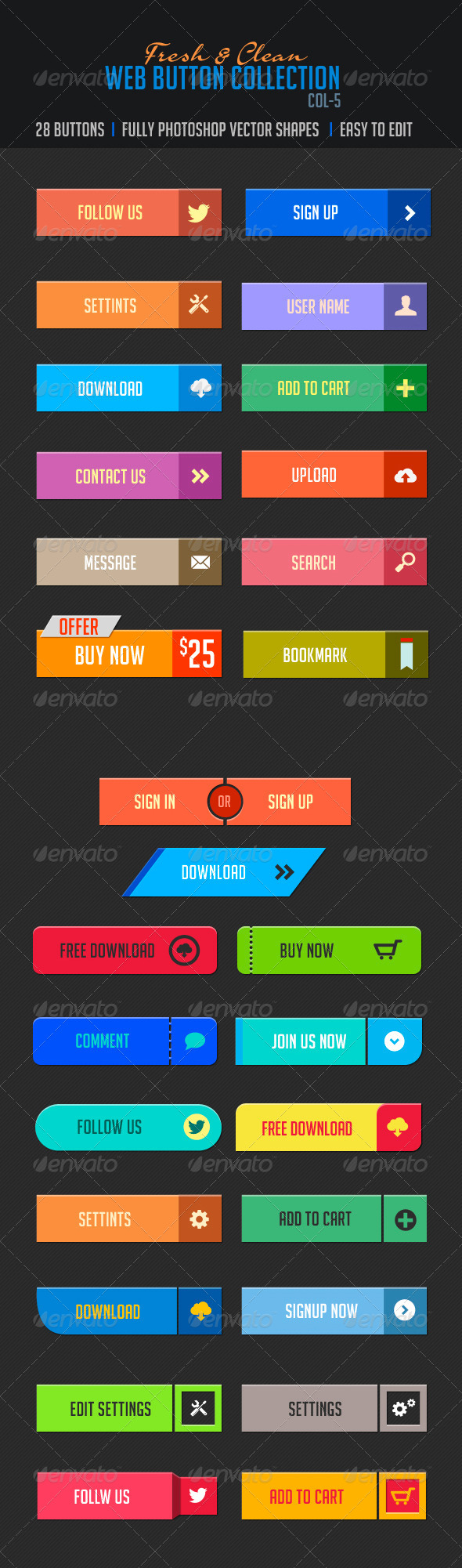 Web Buttons Col-5 Fresh & Clean - Buttons Web Elements