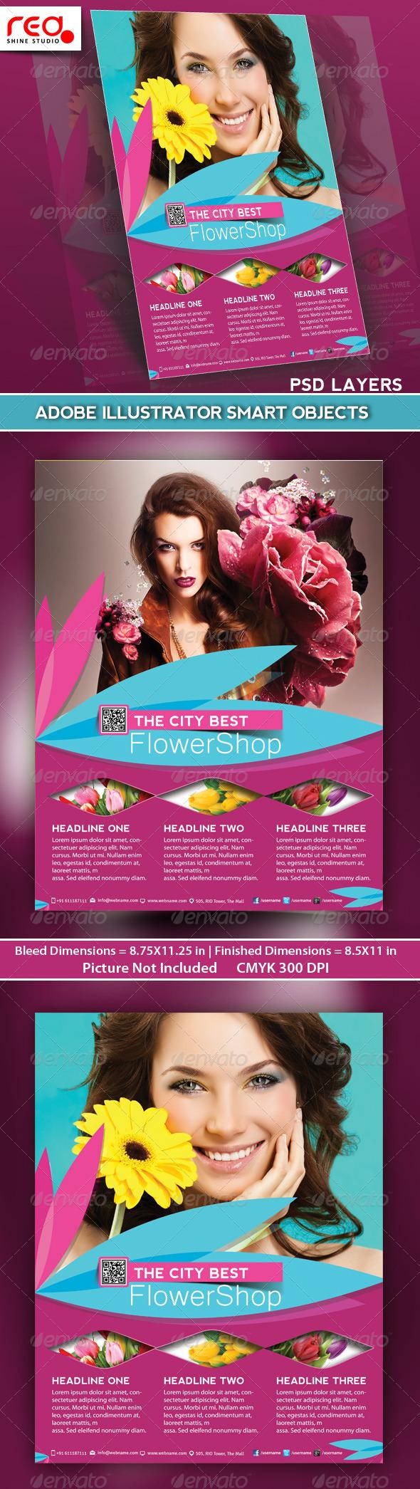 Flower Shop Flyer, Poster & Magazine Template - Commerce Flyers