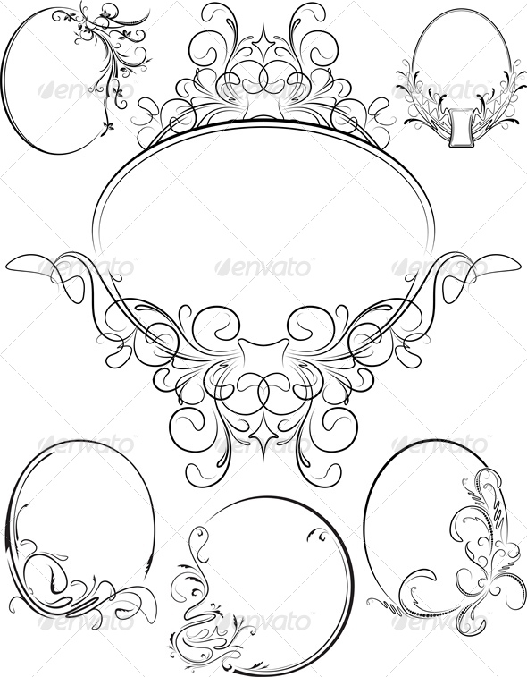 Set of Six Oval Frames - Borders Decorative
