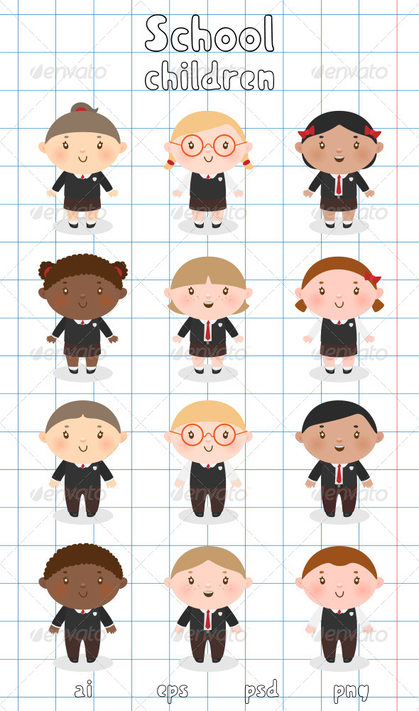 Multi-Ethnic School Children - People Characters