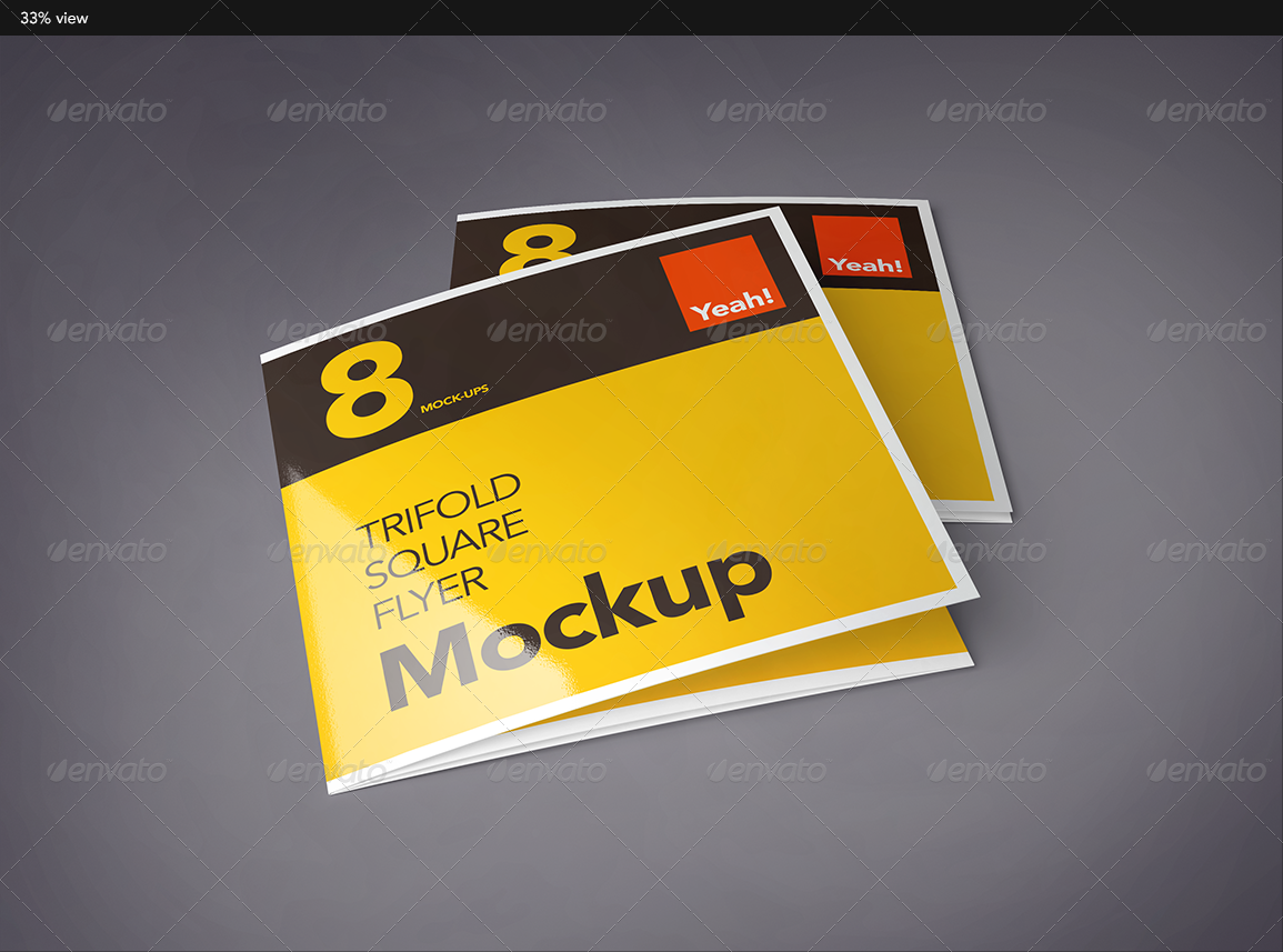 Square Trifold Flyer Mock-Up by MikeKondrat   GraphicRiver