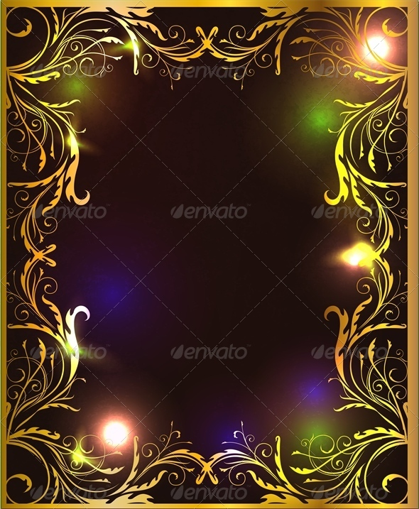 Green and Gold Frame with Glossy Surface - Backgrounds Decorative