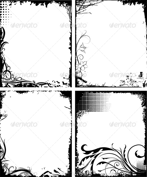 Set of Four Frames in Grunge Style  - Backgrounds Decorative