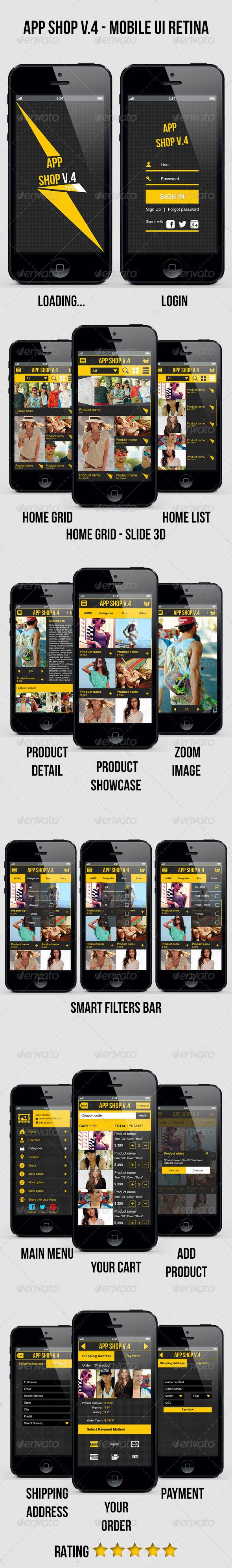 App Shop V.4 - Mobile E Commerce UI Retina  - User Interfaces Web Elements