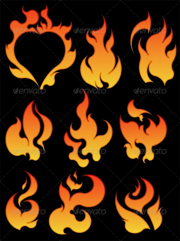 Set of 7 Fires - Abstract Conceptual