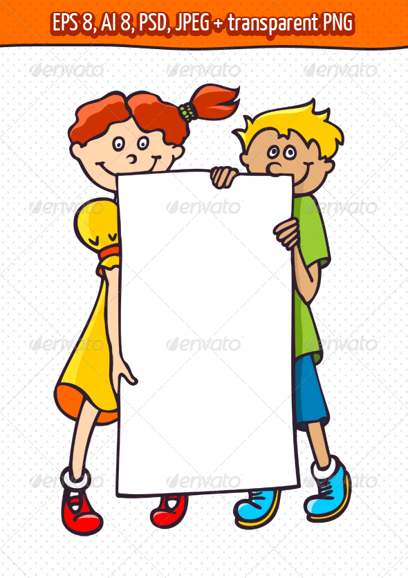 Kids with a Banner - People Characters