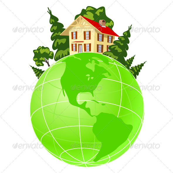 Illustration of House on Green Earth - Buildings Objects