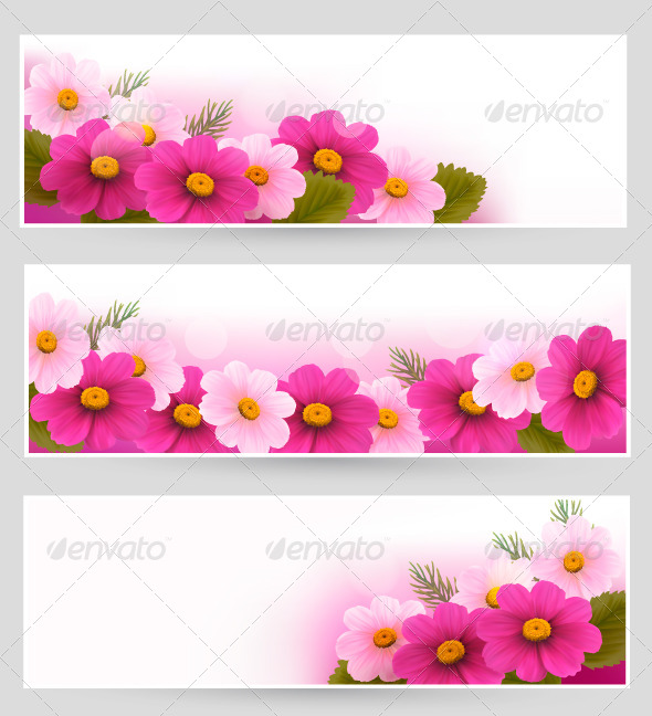 Set of Holiday Banners with Colorful Flowers - Flowers & Plants Nature