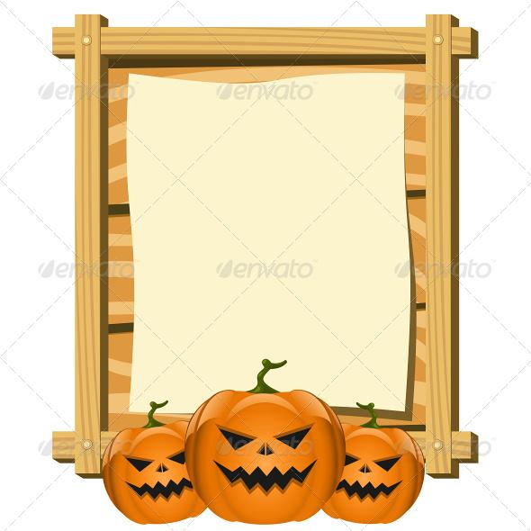 Vector of Blank Board in Halloween Theme - Halloween Seasons/Holidays