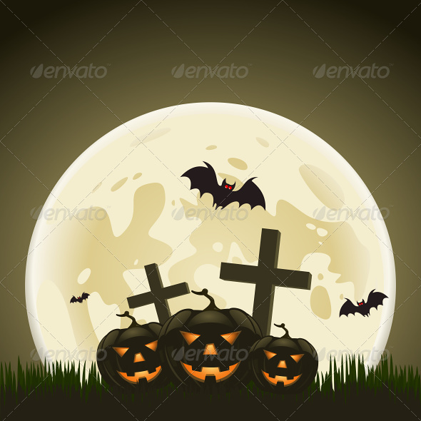 Halloween Background with Pumpkins and Moon - Halloween Seasons/Holidays