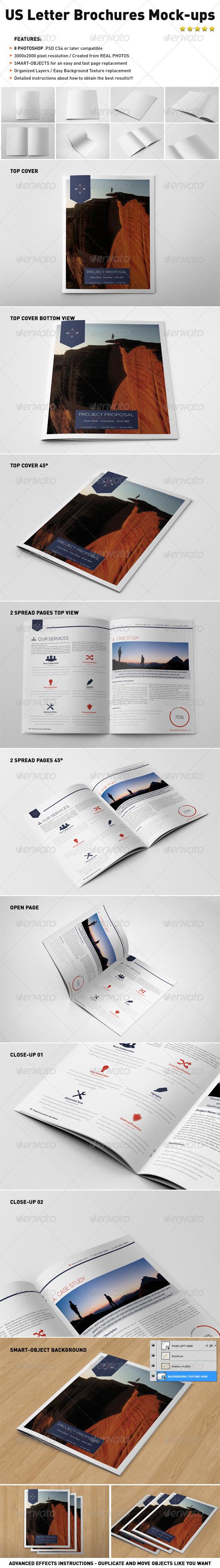 Photorealistic US Letter Brochure Mock-Ups - Brochures Print