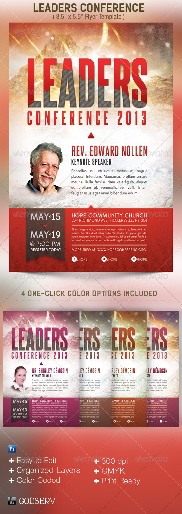 Leadership Conference Church Flyer Template by Godserv – Conference Flyer Template