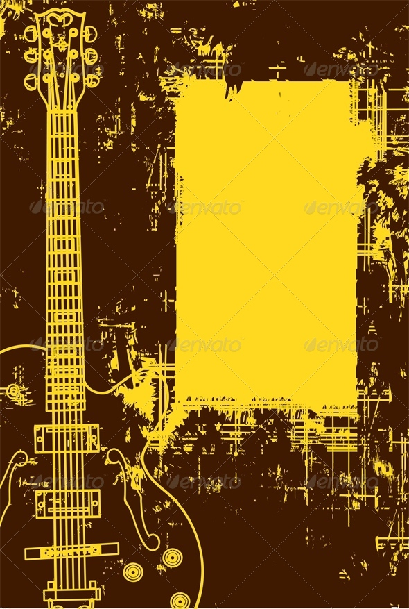 Guitar Background In Grunge Style - Abstract Conceptual
