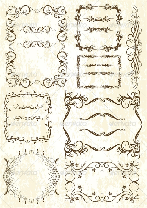 Set of Elements for Design or Tattoo - Flourishes / Swirls Decorative