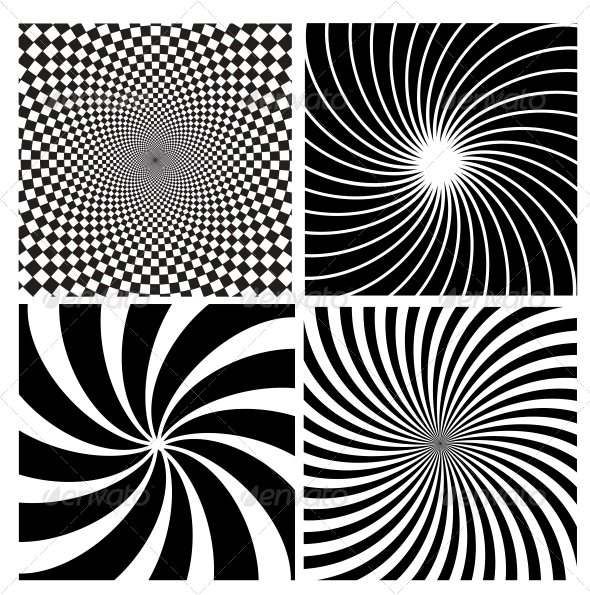 Black and White Hypnotic Background. - Backgrounds Decorative