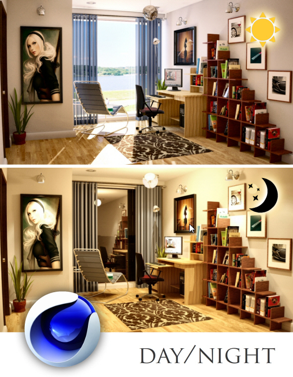 Cinema4D Vray Interior Setup, Day + Night - 3DOcean Item for Sale