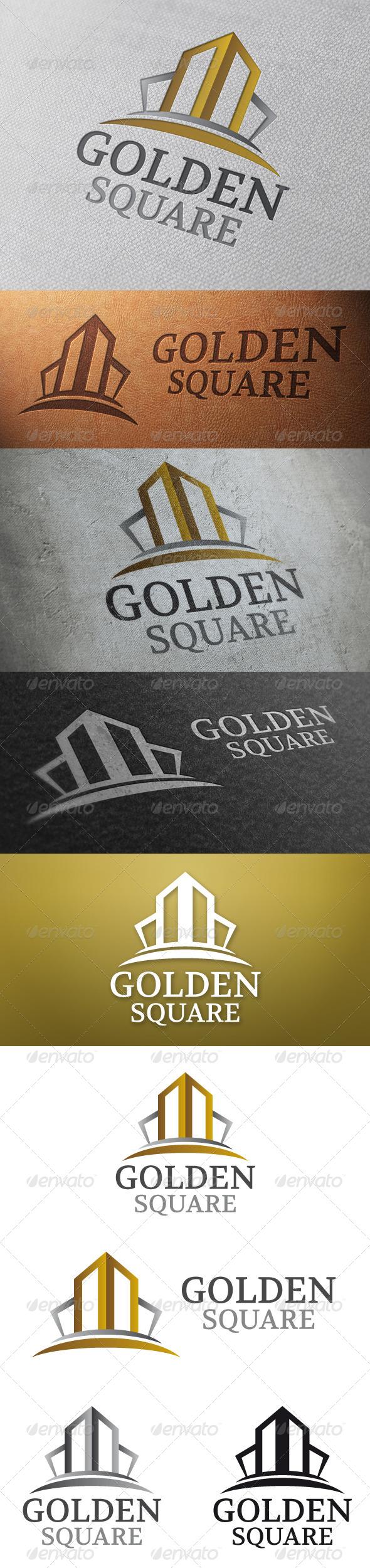 Golden Square Logo Template - Buildings Logo Templates