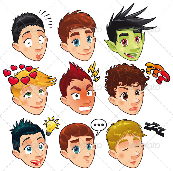 Various expressions of boys.  - People Characters