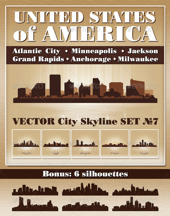 Vector City Skyline USA Set Number 7 - Buildings Objects