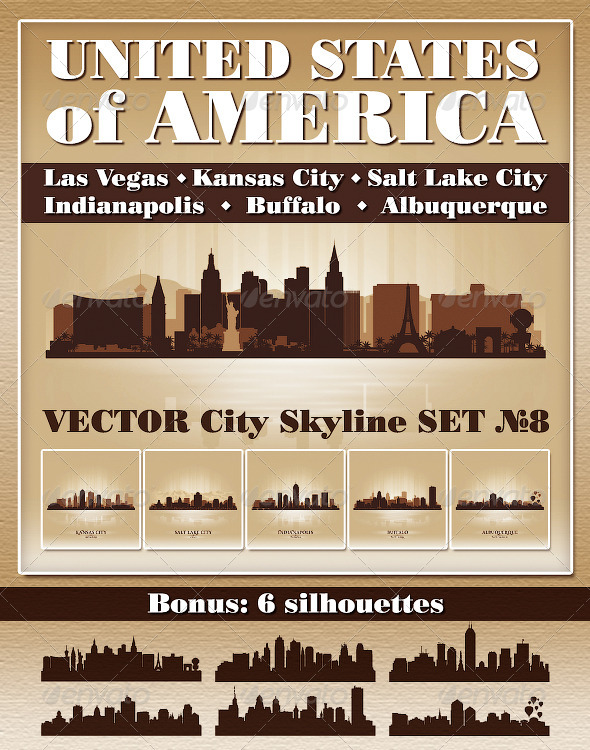 Vector City Skyline USA Set Number 8 - Buildings Objects
