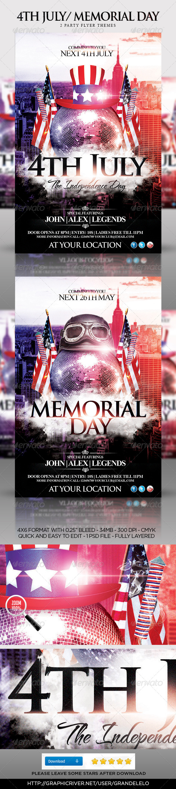4th july memorial day party flyer template by grandelelo for 4th of july menu template