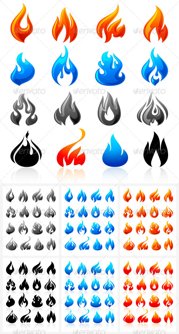 16 Flames of Fire in Set Colored 96 icons - Decorative Symbols Decorative
