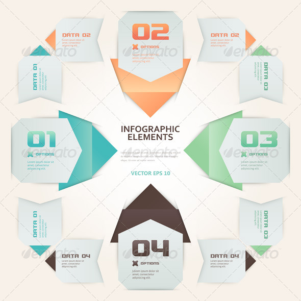 Modern Origami Style Number Options Infographic  - Concepts Business