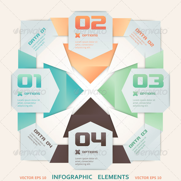 Modern Origami Style Infographic Illustration - Concepts Business