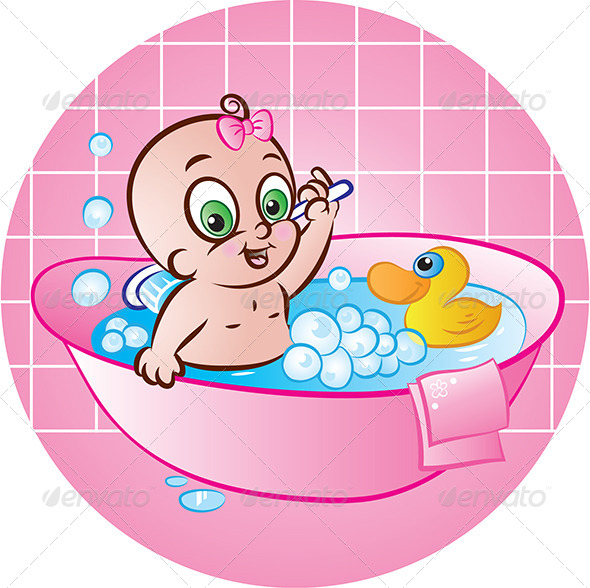 Happy Baby Girl in Tub - People Characters