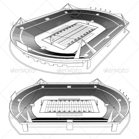 3D American Football Stadium - Sports/Activity Conceptual