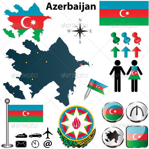 Map of Azerbaijan - Travel Conceptual