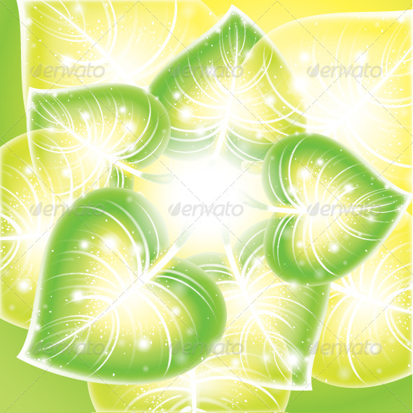 Floral Background with Leafs - Backgrounds Decorative