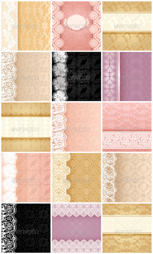 15 Floral Backgrounds with Ornament and Lace - Backgrounds Decorative