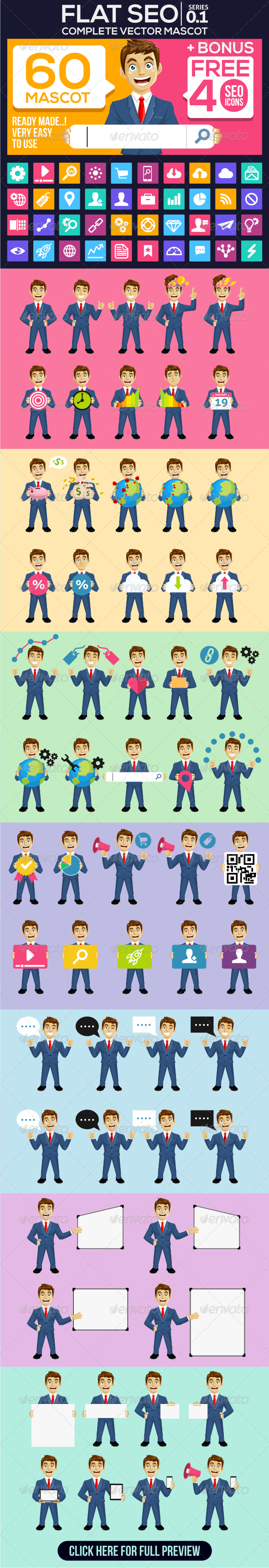 Flat Design SEO Mascot with Icon Bonus - Characters Vectors
