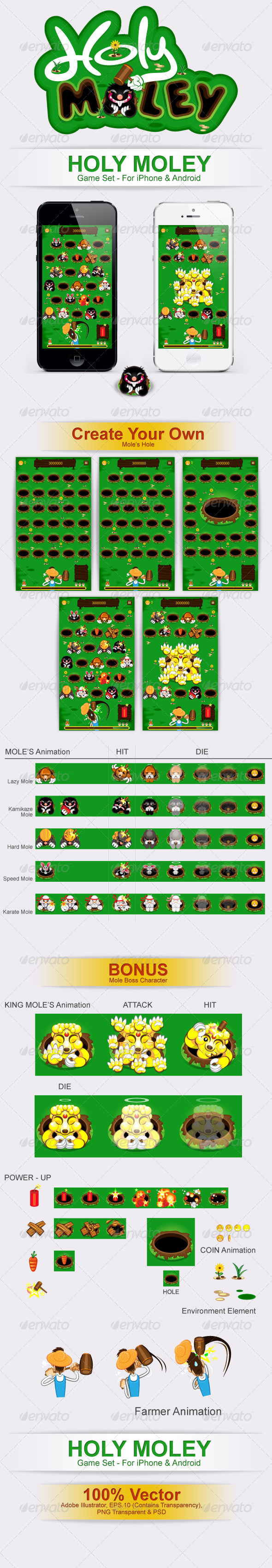Holy Moley Game Pack Bundle Set - Sprites Game Assets