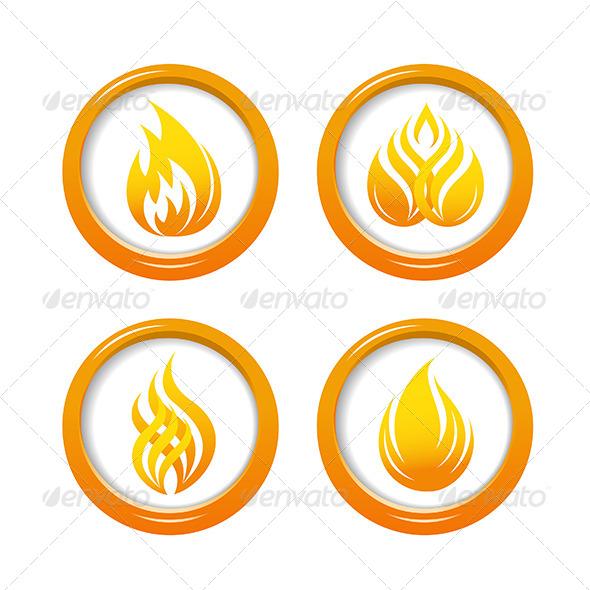 Fire Web Buttons Set - Web Elements Vectors