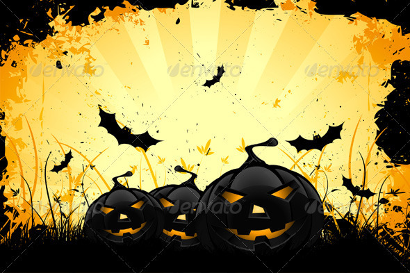 Grungy Halloween Background with Pumpkins and Bats - Halloween Seasons/Holidays