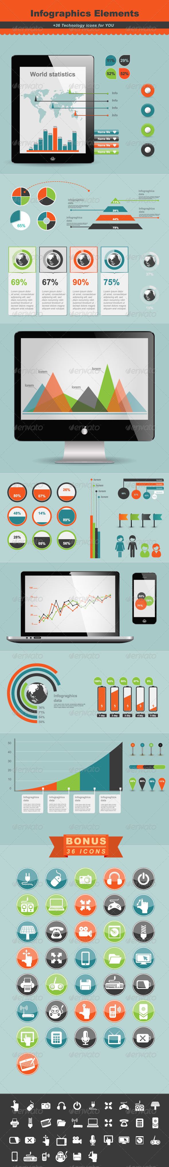 Technology Infographic Elements - Infographics
