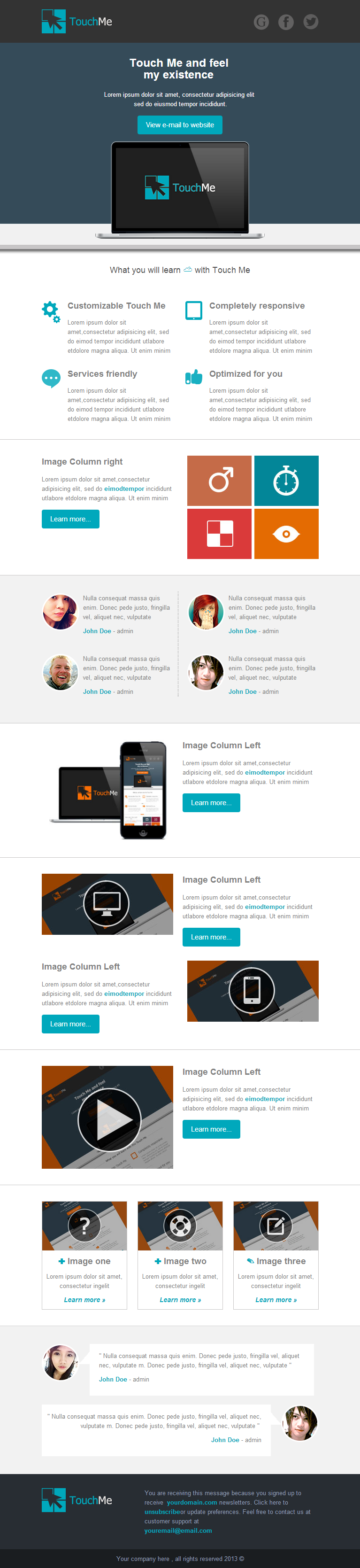 Touch Me Responsive Email Templates By Akedodee ThemeForest - 2 column responsive email template