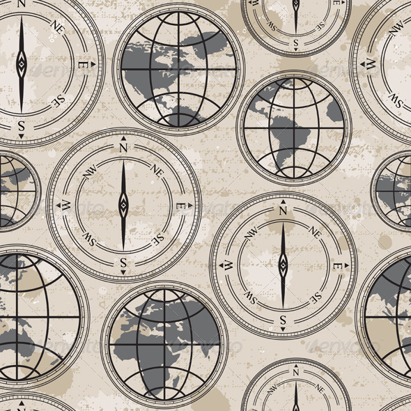 Retro Globe and Compass - Patterns Decorative