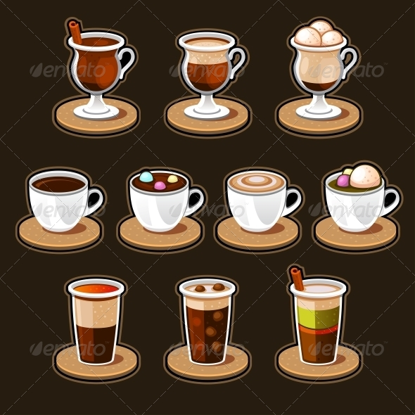 Coffee and Tea Cup Set.  - Food Objects