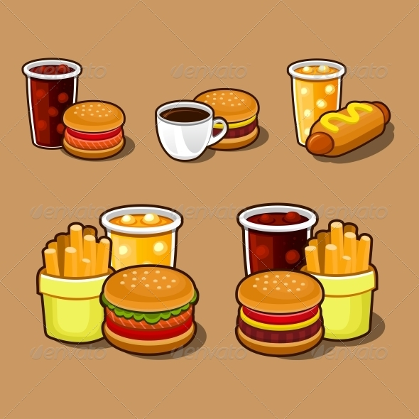 Set of Colorful Cartoon Fast Food Icons. - Food Objects