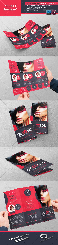 Beauty Saloon Tri-Fold Template - Brochures Print Templates