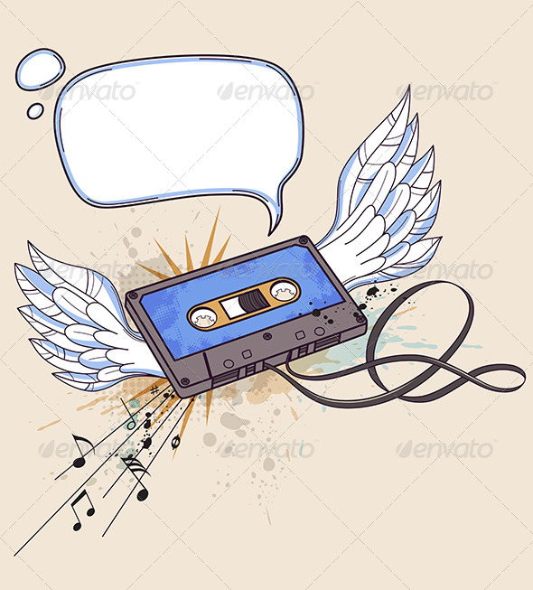 Audio Cassette and Wings - Backgrounds Decorative