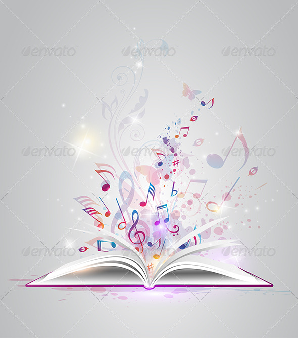 Open Book with Notes - Backgrounds Decorative