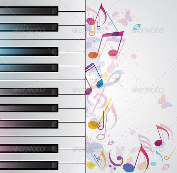 Music Abstract Background with Piano - Backgrounds Decorative