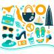 Summer Design Element Set - Orange and Blue - GraphicRiver Item for Sale