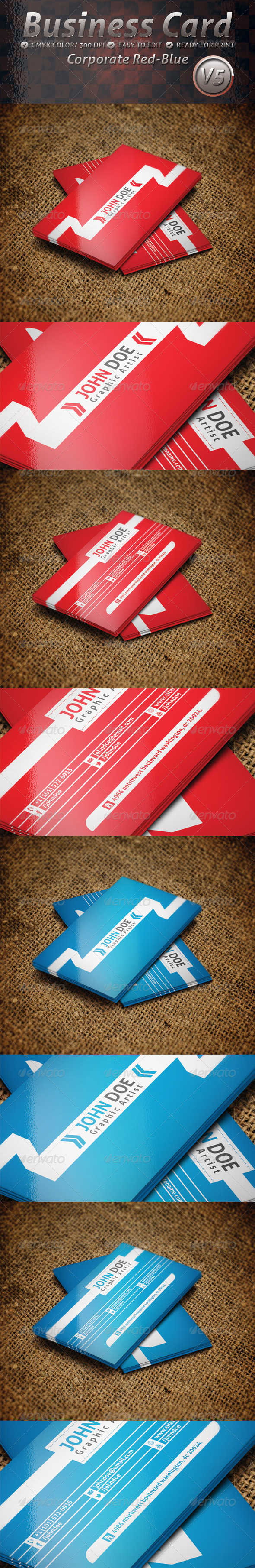 Business Card Corporate Red and Blue V5 - Corporate Business Cards