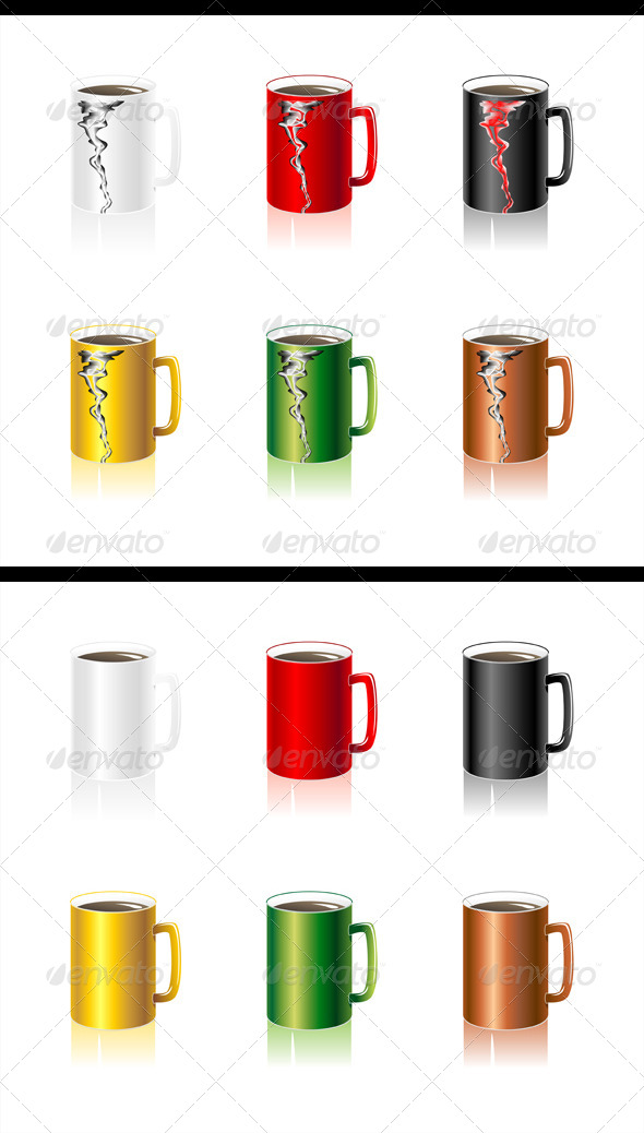 Set Colorful Cups - Objects Vectors